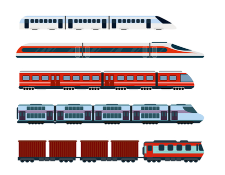 Vector illustration set of modern passenger trains. Subway transport, high speed trains and underground train. Metro train in flat style. Stock Illustratie