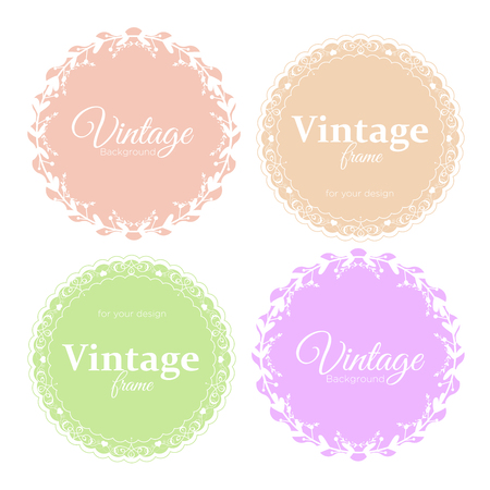 Vector illustration collection of elegant round vintage frames in light pastel colors for your text or photo.