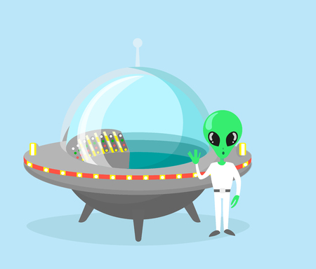 Vector illustration of cute and nice alien character with spaceship on light blue color background.