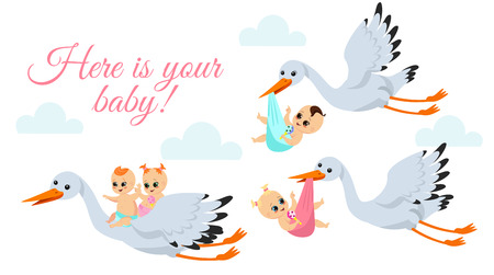 Vector illustration of happy flying storks with newborn babies. Stork birds carrying baby boy and baby girl in bags in cartoon flat style.
