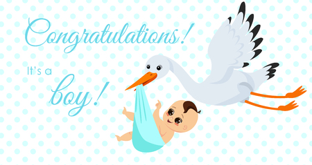 Vector illustration of happy stork carrying cute baby boy in bag. It s a boy Newborn baby concept in cartoon style for greeting card. 矢量图像