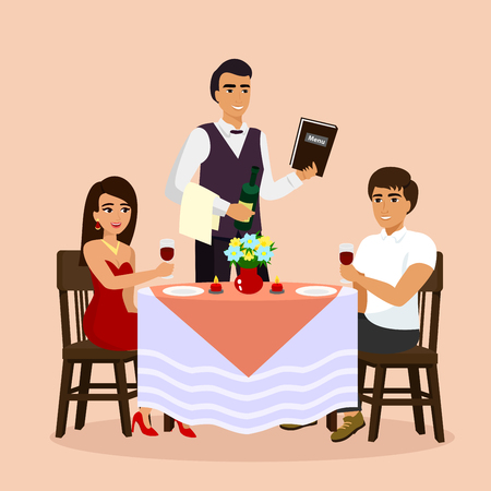 Vector illustration of loving couple in restaurant with waiter, drinking wine in a cafe. Man and woman have a date, flat cartoon style. Vectores