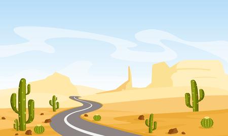 Ilustración de vector de paisaje desértico con cactus y carretera de asfalto, en estilo plano de dibujos animados. Ilustración de vector