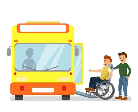 Vector illustration of man helping disabled man in a wheelchair com into the bus in bus station in flat cartoon style.