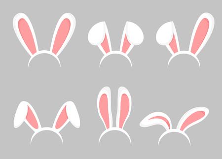 Vector illustration set of Easter bunny cartoon ears. Animal bunny, rabbit mask ears collection in flat cartoon style.