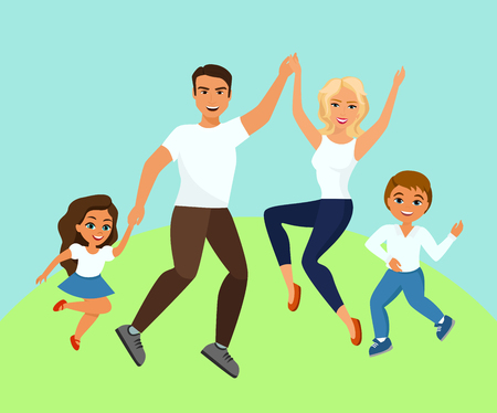 Vector illustration of Joyful family jumping. Happy and smiling dad mom daughter and son holding hands.