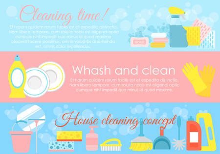 Vector illustration set of house cleaning elements