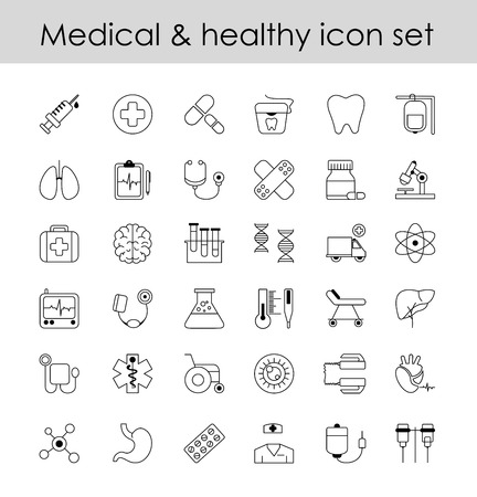 Vector illustration set of line icons, sign in line design medicine. Collection modern elements of pharmacology, blood count for mobile concepts and web app.