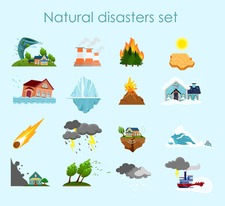 A Vector illustration collection of color icons natural disasters on light blue background, set of elements storm, fire and hurricane.