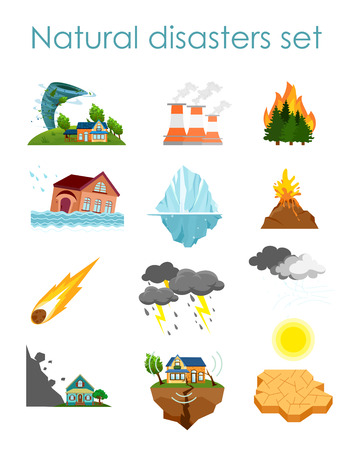 Vector illustration set of color icons natural disasters isolated on white background Stock Illustratie