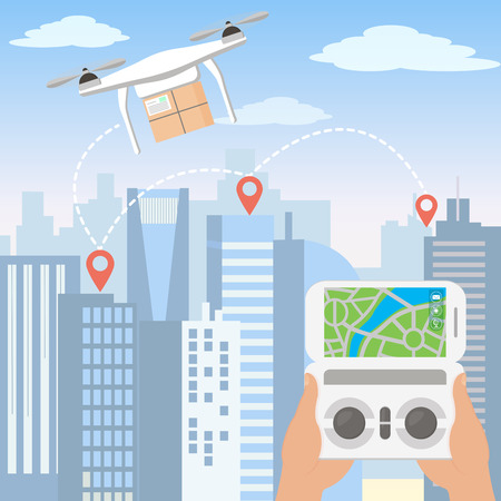 Vector illustration of hands launching delivery drone with package by smartphone in front of the skyline of a big modern city with skyscrapers in flat cartoon style.