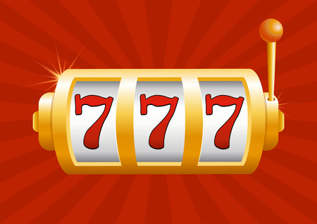 Vector illustration of golden slot machine wins the jackpot. Isolated on red background. Jackpot in game, winner.