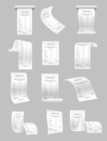 Conjunto de ilustración de vector de cheques de impresión de papel y elementos de vector de facturas. Objeto aislado de boleto minorista, factura de cajero automático realista, factura financiera sobre fondo gris.