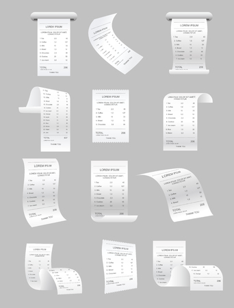 Vector illustration set of paper print checks and bills vector elements. Retail ticket isolated object, realistic ATM bill, financial invoice on gray background. Stock Illustratie