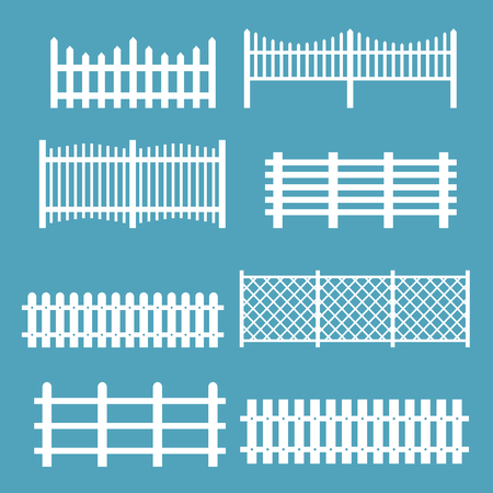 A Vector illustration set of different fences white color. Rural silhouettes wooden fences, pickets vector for garden in flat style.