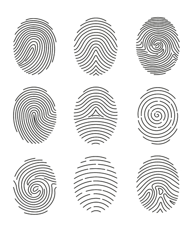 A Vector illustration set of nine black line fingerprint types on white background.