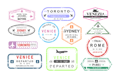 A Vector illustration set of isolated visa passport stamps of arriving and departure, tourism sign, arrival document, airport theme, travel concept.
