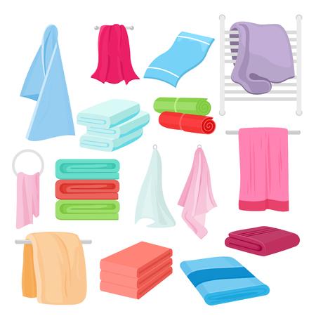 Vector ilustración plana conjunto de toallas de dibujos animados en diferentes colores y formas. Toalla de tela para baño. Ilustración de vector