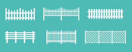 Vector illustration set of white rural wooden fences, silhouettes fence for garden and house concepts, flat cartoon style. 向量圖像