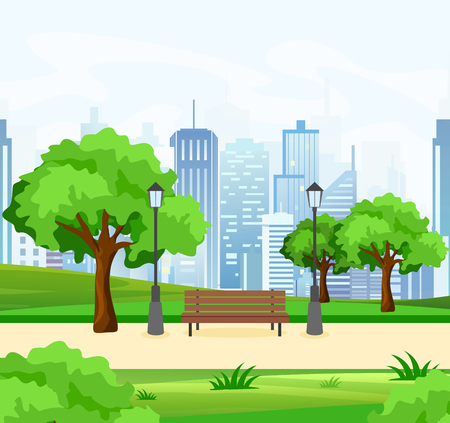 A Vector illustration of beautiful public city park with trees and bench, lights and modern city view on background in flat style. Çizim