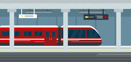 A Vector illustration of empty subway station interior, subway railway station underground, metro platform and train. Modern urban metro concept.