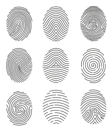 A Vector illustration set of different shape fingerprint in line style on white background. Иллюстрация