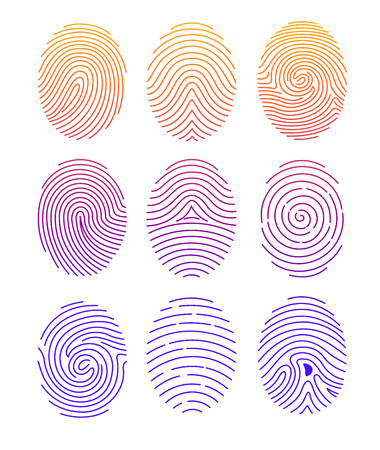 A Vector illustration set of different shape fingerprint with color gradient in line style on white background.