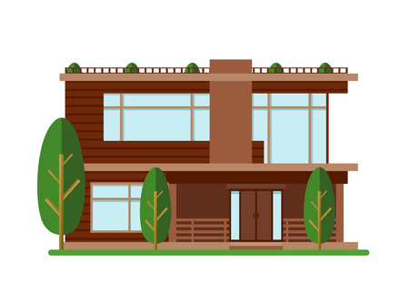 A Vector illustration of modern house. Family home. Facade apartment house, cottage, building concept in flat style.