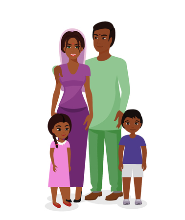 Vector illustration of beautiful Indian family. Happy Indian man and woman with boy and girl kids in traditional national clothes. Mother, father and children together in flat cartoon style. 向量圖像