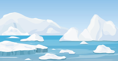 Vector illustration of cartoon nature winter arctic landscape with iceberg, blue pure water and snow hills, mountains.