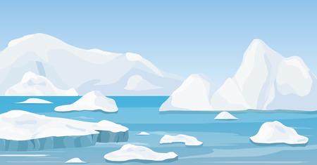 Wektor ilustracja kreskówka natura zimowy arktyczny krajobraz z górą lodową, niebieską czystą wodą i wzgórzami śniegu, góry.