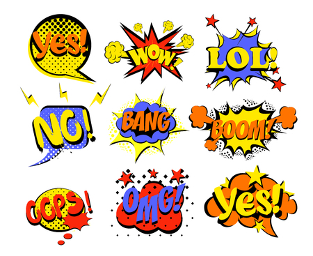 Vector illustration set of comic text, Pop Art style popular words yes, no, lol and oops. Omg, wow and other bright colors words in pin up and pop art style on white background.