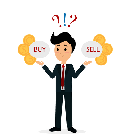 Vector illustration of funny trader character analyzing, deciding to buy or sell shares or currency. Financial market business man. Flat cartoon style business concept. 스톡 콘텐츠