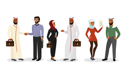 Vector illustration of cartoon Arab men and women in different clothes and characters, muslim businessmen and businesswomen standing, talking, smiling together in flat style. Business and social concept.