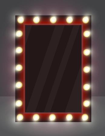 Vector illustration of realistic mirror for makeup with lighting lamps. Vectores