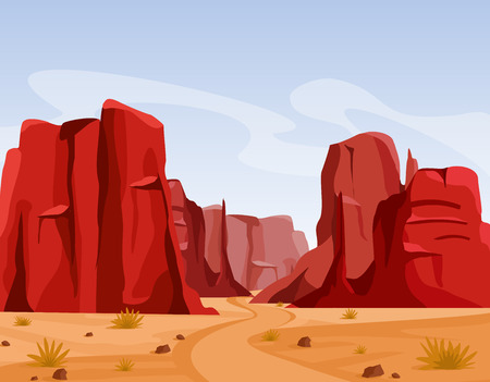 Vector illustration of Wild west Texas desert landscape with dry grass and red color mountains of canyon. Flat cartoon style for game art and animation game.