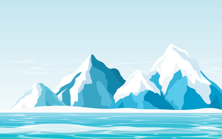 Vector illustration of snow mountains with ice, ocean and light sky background in flat style.
