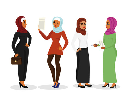 Vector illustration set of beautiful business arab woman in traditional muslim clothes talking and smiling together, character with hijab in flat cartoon style.