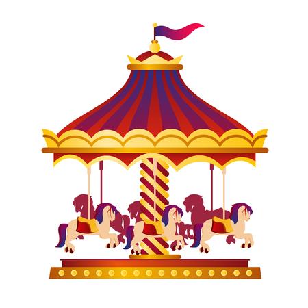 Vektorillustration des bunten und hellen Zirkuskarussells, Kreisverkehr mit Pferden, Zirkuskonzept im Karikaturstil auf weißem Hintergrund.