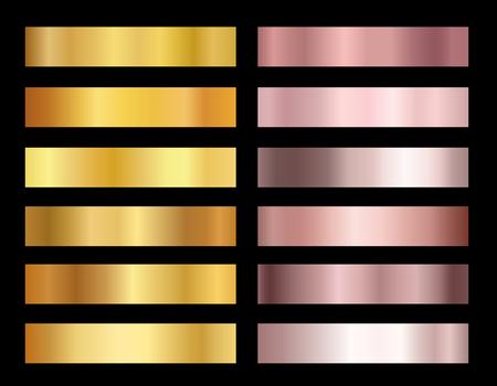 Set di oro rosa e lamina d'oro sfondi texture illustrazione vettoriale. Collezione di sfumature eleganti e lucenti per bordi, cornice, nastro, design di etichette dorate rosa.