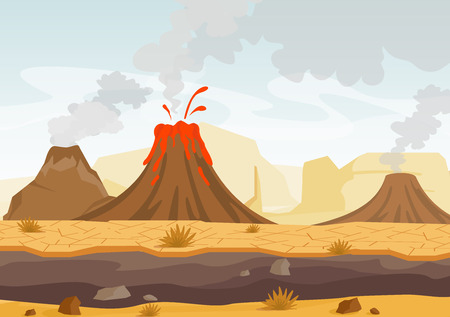 Vector illustration of prehistoric landscape with volcano eruption, lava and smoky sky, landscape with mountains and volcanoes in flat cartoon style.