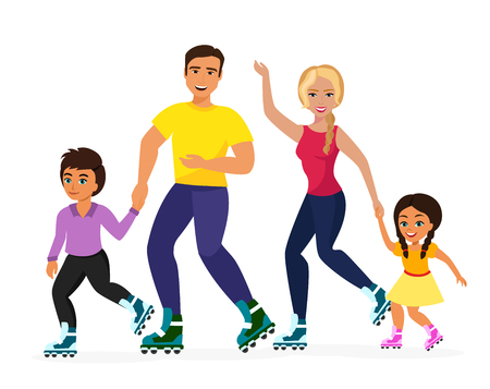 Vector illustration of smiley family skating on the white background. Sport family, mother, father, daughter and son happy together. Healthy life concept, flat cartoon style. Illustration