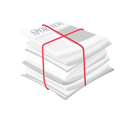 Vector illustration pile of newspapers with media information, sport news, banded with a red ribbon. Paper tabloid concept on white background in flat style.