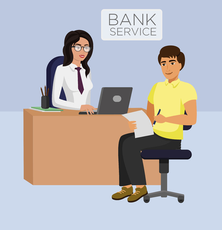 Vector illustration of Bank service female manager and client. Consultancy, ATM cash, business concept.