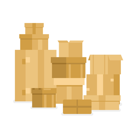 Vector illustration pile of stacked sealed goods cardboard boxes.