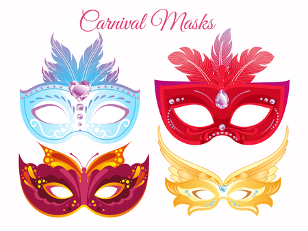 Vector illustration set venetian painted carnival facial masks. Masks for a party decorated with bright colorful feathers and rhinestones isolated on white background.