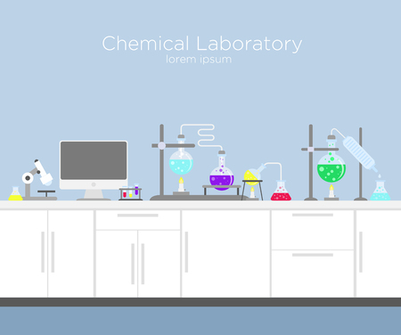 Vector illustration of chemical laboratory. Chemistry infographic s with various chemical solutions and reactions, computer and different tools in flat cartoon style.