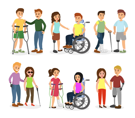 Vector illustration set of disabled people and friends helping them, talking, walking and smiling happy people in cartoon flat style.