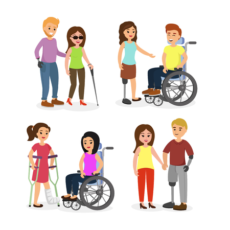 Vector illustration set of disabled people with friends, walking and speaking happy young people with wheelchair and crutches in cartoon flat style. Illustration
