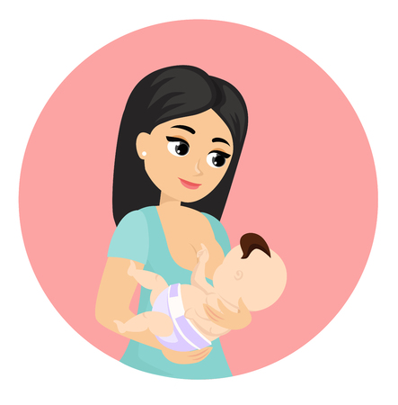 Vector illustration of mother feeds baby with breast, breastfeeding position. Cute cartoon character mother feeding baby, breastfeeding concept in flat style.